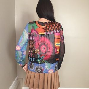 Desigual Tops - Desigual Colorful Sheer Long Sleeve Button Up Top